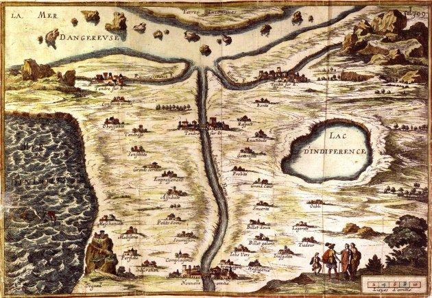 Carte de Tendre of M. de Scudery. (Paris BNF)